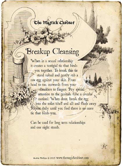 Breakup Cleansing Spell. The Magick Cabinet free Grimoire full of spells and rituals for your own personal use. Blessed Be Witches, find your Coven Supplies here.