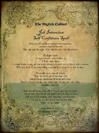 Confidence Spell from The Magick Cabinet Book of Shadows full of spells and rituals for your own personal use. Blessed Be Witches. Witchcraft Spells
