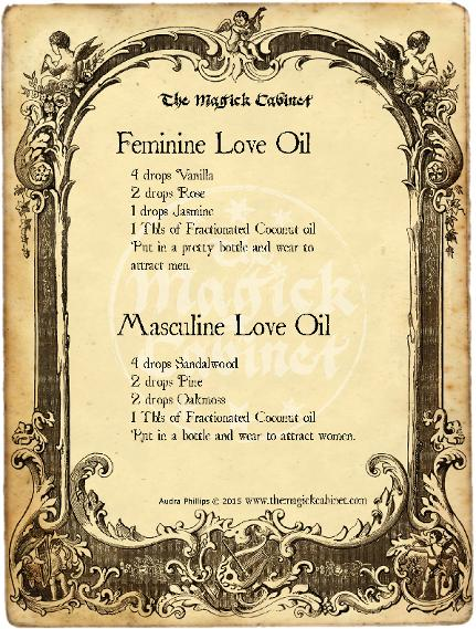 Love Ritual Oil Recipes from The Magick Cabinet Book of Shadows full of spells and rituals for your own personal use. Blessed Be Witches. Find your Coven Supplies here.