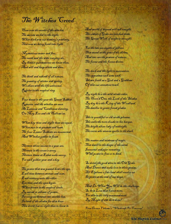 The Witches Creed from The Magick Cabinet Book of Shadows full of spells and rituals for your own personal use. Blessed Be Witches.